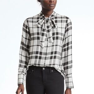 Banana Republic | Dillon Shirt Black White Plaid